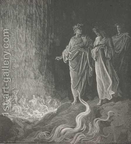 """O God of mercy!"" heard I sung; (Canto XXV., line126) by Gustave Dore - Reproduction Oil Painting"