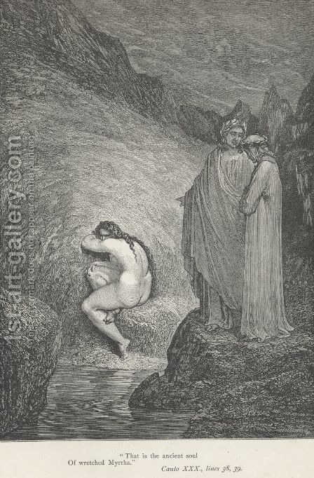 """That is the ancient soul of wretched Myrrha."" (Canto XXX., lines 38-39) by Gustave Dore - Reproduction Oil Painting"