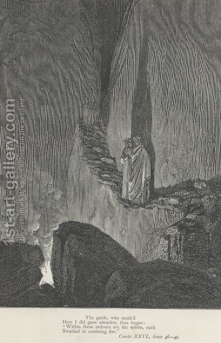 """""""Within these ardours are the spirits, each Swathed in confining fire."""" (Canto XXVI., lines 48-49) by Gustave Dore - Reproduction Oil Painting"""