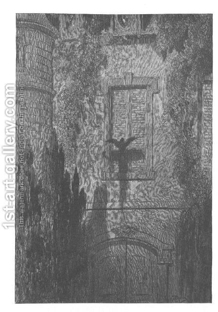 'Surely,' said I, 'surely that is something at my window lattice' by Gustave Dore - Reproduction Oil Painting