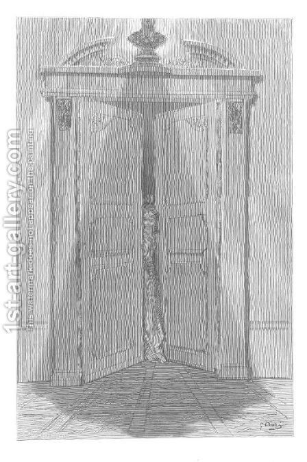 'T is some visitor entreating entrance at my chamber door? by Gustave Dore - Reproduction Oil Painting