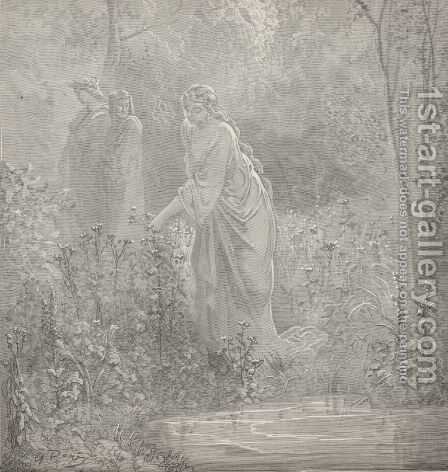 A lady young and beautiful, I dream'd, (Canto XXVII., line 105) by Gustave Dore - Reproduction Oil Painting