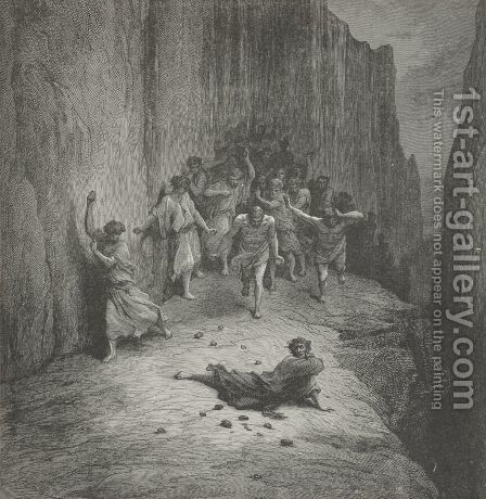 A multitude, in fury burning,   (Canto XV., line 110) by Gustave Dore - Reproduction Oil Painting