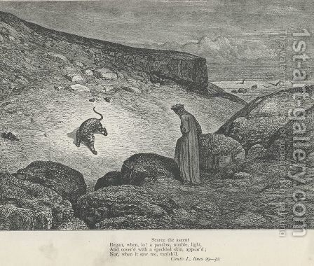 a panther, nimble, light, (Canto I., line 30) by Gustave Dore - Reproduction Oil Painting