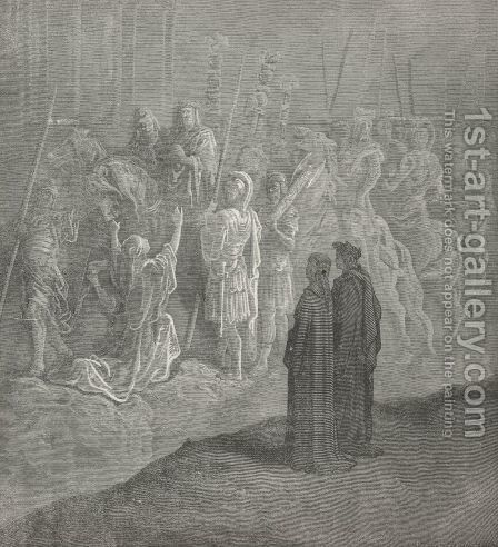 A widow at his bridle stood, attir'd (Canto X, line 74) by Gustave Dore - Reproduction Oil Painting