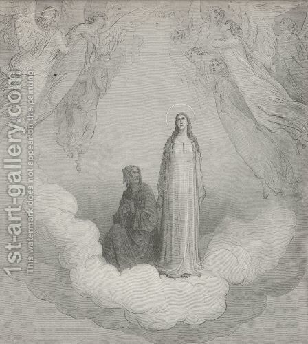Again mine eyes were fix'd on Beatrice, (Canto XXI., line 1) by Gustave Dore - Reproduction Oil Painting