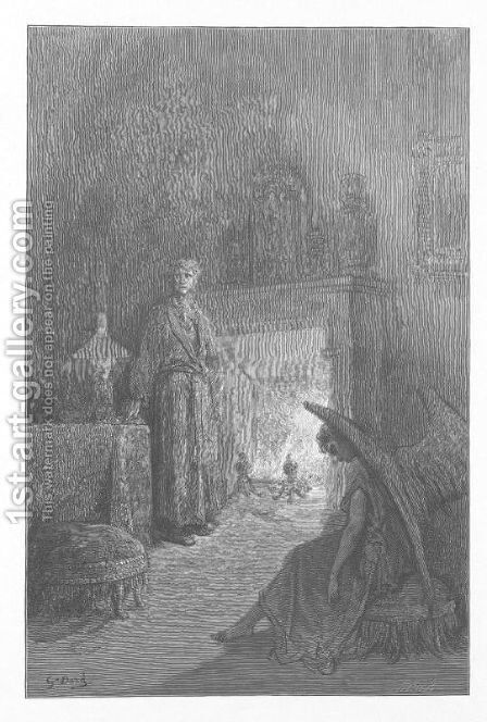 And each separate dying ember wrought its ghost upon the floor. by Gustave Dore - Reproduction Oil Painting