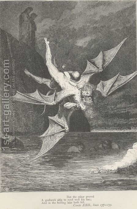 And in the boiling lake both well. (Canto XXII., line 139) by Gustave Dore - Reproduction Oil Painting