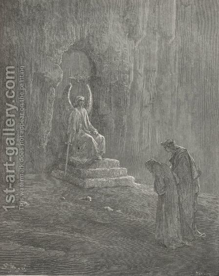 And one who watch'd, but spake not yet a word. (Canto IX,  line 72) by Gustave Dore - Reproduction Oil Painting