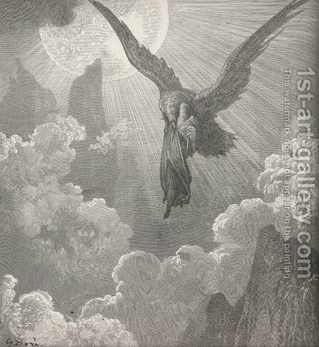 And snatch'd me upward even to the fire. (Canto IX, line 28) by Gustave Dore - Reproduction Oil Painting