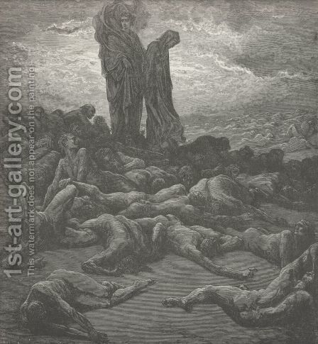 And, 'midst the wailing,  (Canto XX., line 22) by Gustave Dore - Reproduction Oil Painting