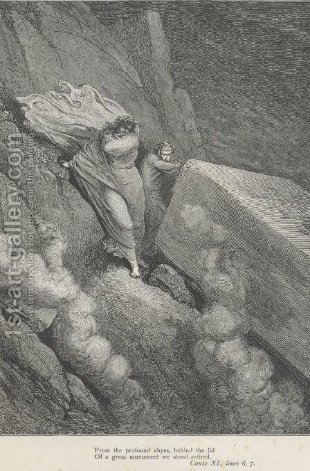 behind the lid Of a great monument we stood retired. (Canto XI., lines 6-7) by Gustave Dore - Reproduction Oil Painting