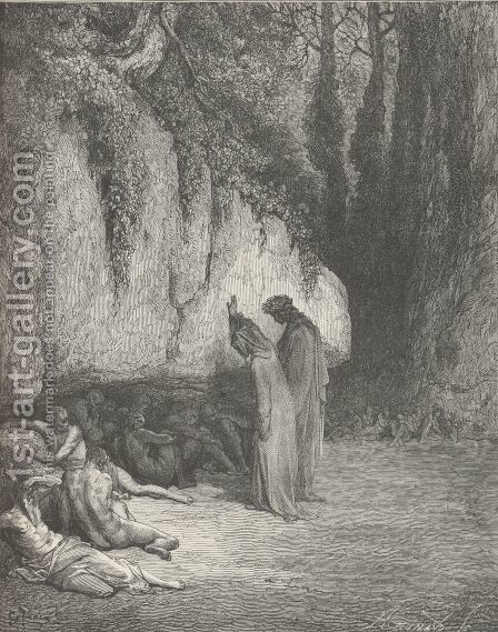 Belacqua, now for thee I grieve no more. (Canto IV., line 128) by Gustave Dore - Reproduction Oil Painting