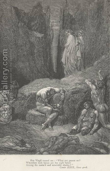 "But Virgil roused me: ""What yet gazest on? (Canto XXIX., line 4) by Gustave Dore - Reproduction Oil Painting"