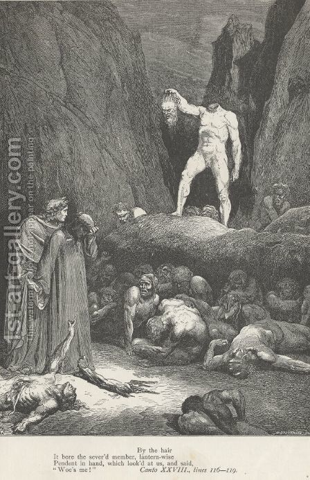 By the hair It bore the sever'd member, lantern-wise (Canto XXVIII., lines 116-117) by Gustave Dore - Reproduction Oil Painting