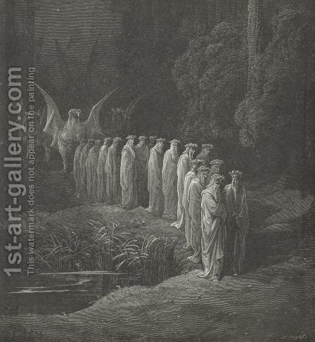 By two and two, with flower-de-luces crown'd. (Canto XXIX., line 90) by Gustave Dore - Reproduction Oil Painting