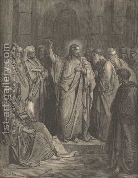Christ In The Synagogue by Gustave Dore - Reproduction Oil Painting