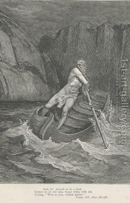 Comes on an old man, hoary white with eld, (Canto III., line 77) by Gustave Dore - Reproduction Oil Painting