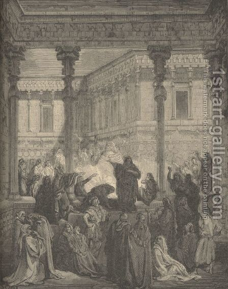 Daniel Confounding The Priests by Gustave Dore - Reproduction Oil Painting