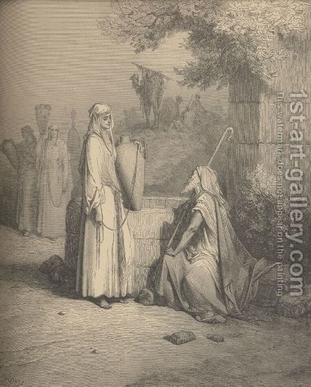 Eliezer And Rebekah by Gustave Dore - Reproduction Oil Painting