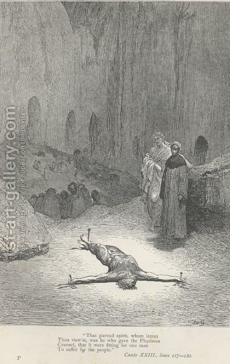he who gave the Pharisees Counsel, (Canto XXIII., lines 118-119) by Gustave Dore - Reproduction Oil Painting