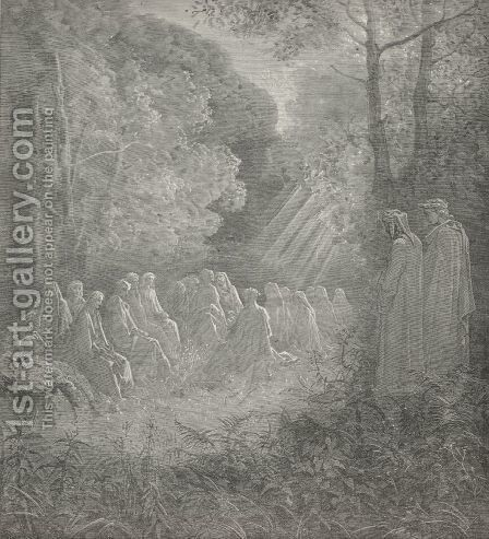 Here chanting I beheld those spirits sit  (Canto VII., line 91) by Gustave Dore - Reproduction Oil Painting