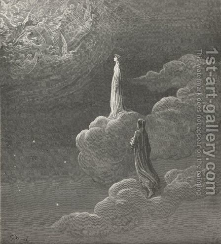 I beheld myself, Sole with my lady, to more lofty bliss Translated (Canto XIV., lines 82-83) by Gustave Dore - Reproduction Oil Painting