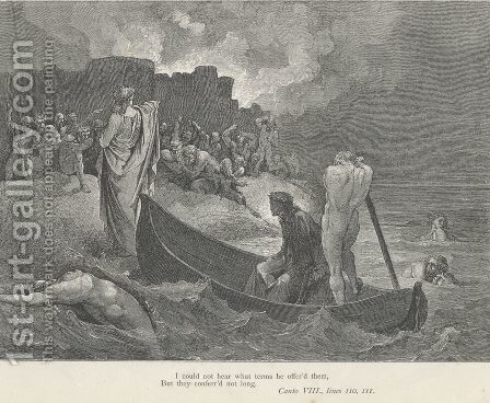 I could not hear what terms he offer'd them, (Canto VIII., line 110) by Gustave Dore - Reproduction Oil Painting