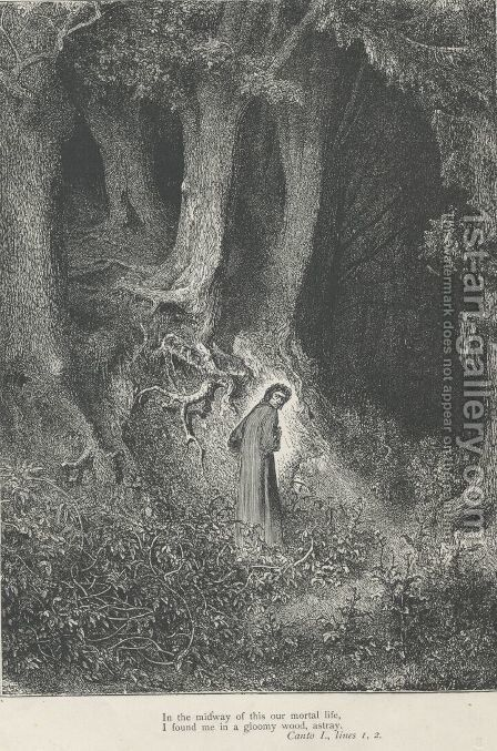 I found me in a gloomy wood, astray.  (Canto I,. line 2) by Gustave Dore - Reproduction Oil Painting