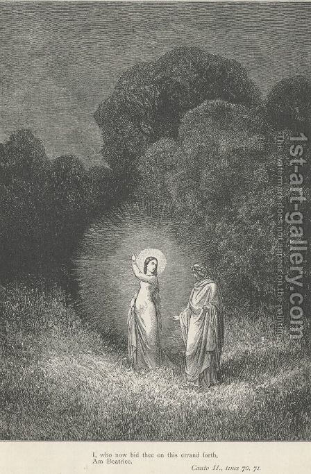I, who now bid thee on this errand forth, Am Beatrice (Canto II., lines 70-71) by Gustave Dore - Reproduction Oil Painting