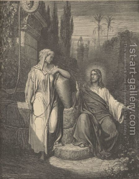 Jesus And The Woman Of Samaria by Gustave Dore - Reproduction Oil Painting