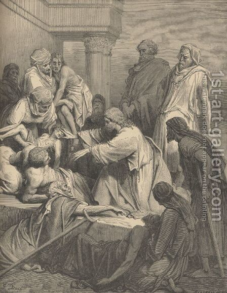 Jesus Healing The Sick by Gustave Dore - Reproduction Oil Painting