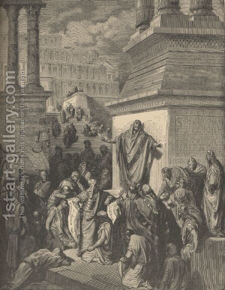 Jonah Calling Nineveh To Repentance by Gustave Dore - Reproduction Oil Painting