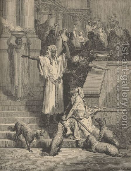 Lazarus And The Rich Man by Gustave Dore - Reproduction Oil Painting