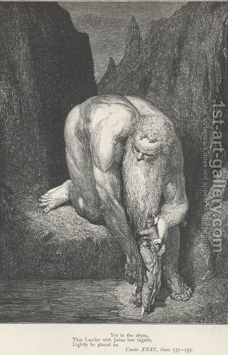 Lucifer with Judas (Canto XXXI., lines 134) by Gustave Dore - Reproduction Oil Painting
