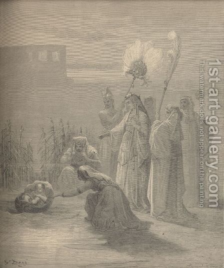 Moses In The Bulrushes by Gustave Dore - Reproduction Oil Painting