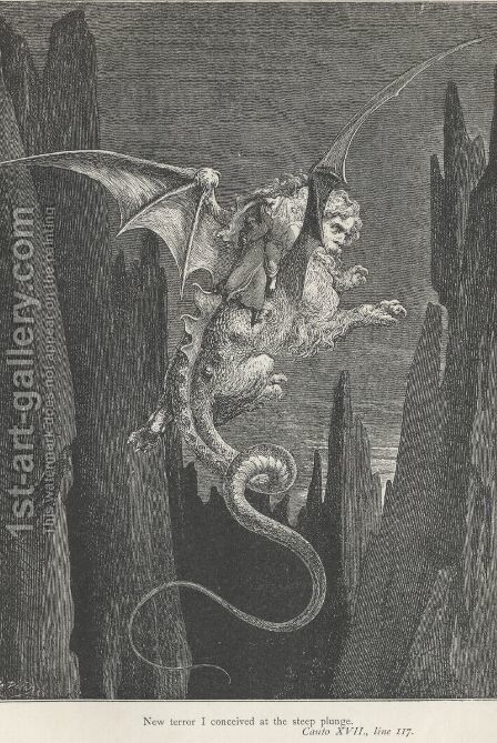 New terror I conceived at the steep plunge. (Canto XVII., line 117) by Gustave Dore - Reproduction Oil Painting