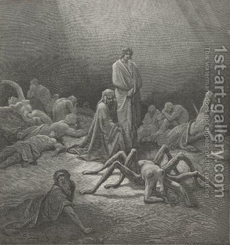 O fond Arachne!  thee I also saw (Canto XII., line 43) by Gustave Dore - Reproduction Oil Painting