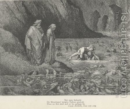 On Menalippus' temples Tydeus gnawed, (Canto XXXII., line 128) by Gustave Dore - Reproduction Oil Painting