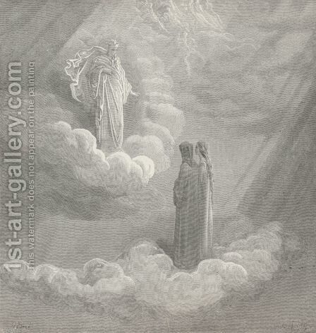 On that maim'd stone set up to guard the bridge, (Canto XVI., line 146) by Gustave Dore - Reproduction Oil Painting