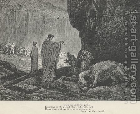 Raised them, and cast it in his ravenous maw. (Canto VI., line 26) by Gustave Dore - Reproduction Oil Painting