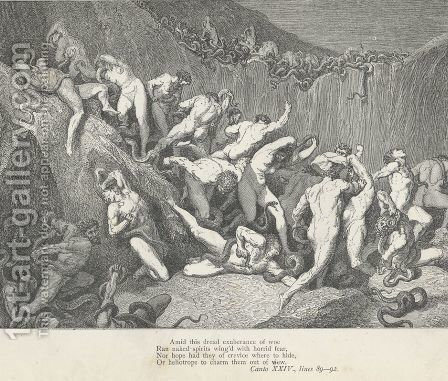 Ran naked spirits wing'd with horrid fear (Canto XXIV., line 90) by Gustave Dore - Reproduction Oil Painting