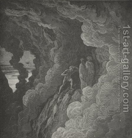 since the cloudy smoke Forbids the seeing, hearing in its stead Shall keep us join'd.   (Canto XVI., lines 37-39) by Gustave Dore - Reproduction Oil Painting