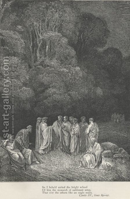 So I beheld united the bright school (Canto IV., line 89) by Gustave Dore - Reproduction Oil Painting