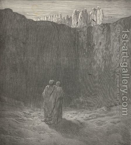 spirits, that toward us mov'd their steps, (Canto III., line 60) by Gustave Dore - Reproduction Oil Painting