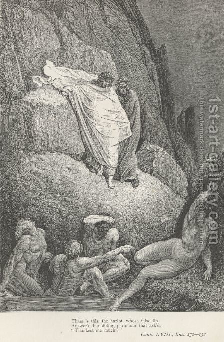 Thais is this, the harlot (Canto XVIII., line 130) by Gustave Dore - Reproduction Oil Painting