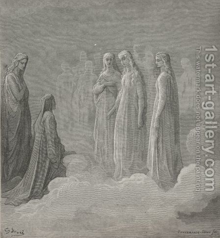 That on white forehead set a pearl as strong (Canto III., line 14) by Gustave Dore - Reproduction Oil Painting