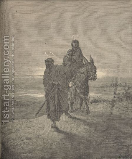 The Flight Into Egypt by Gustave Dore - Reproduction Oil Painting