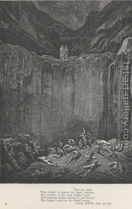 The forgers noted on her dread record. (Canto XXIX., line 56) by Gustave Dore - Reproduction Oil Painting