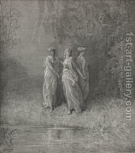 Three nymphs (Canto XXIX., line 126) by Gustave Dore - Reproduction Oil Painting